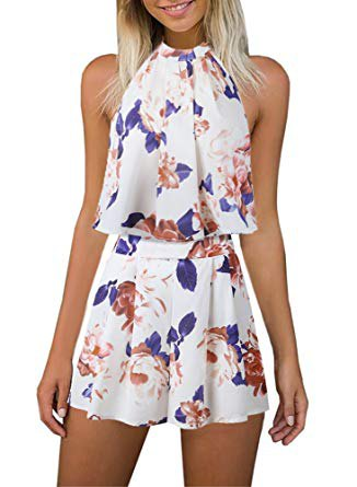 white and blue chiffon top with floral pattern and matching shorts with high waist