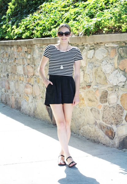 black and white striped t-shirt with high mini shorts
