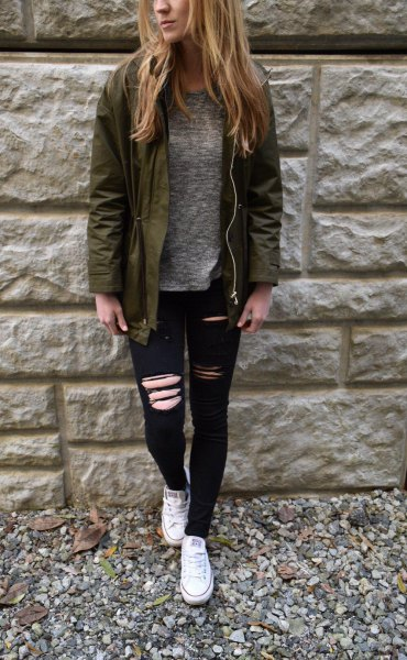 brown bomber jacket with gray mottled sweater