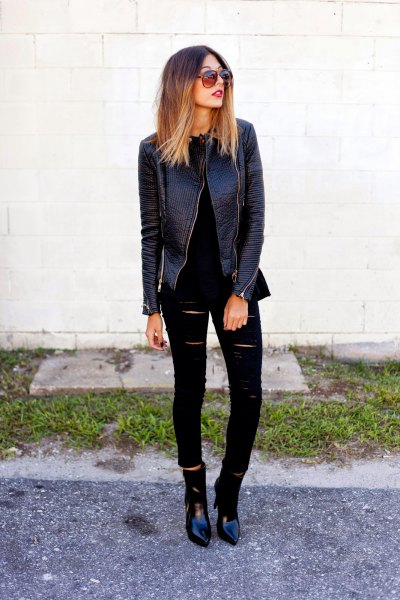 black leather jacket with torn skinny jeans and pointed toe boots