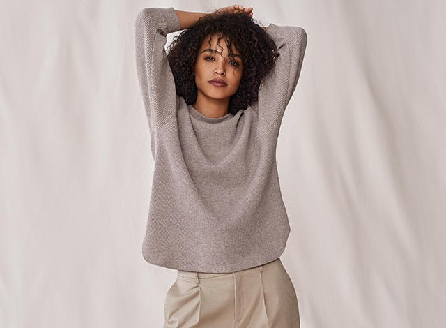heather gray sweater with pink mini sweatpants