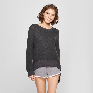 gray comfortable sweater with mini sweatpants