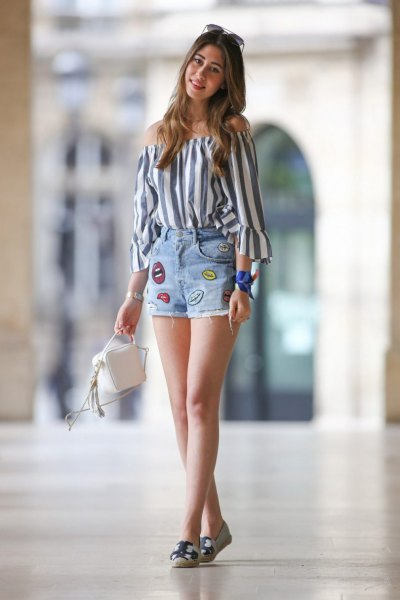 gray-white, vertical striped shoulder blouse with graphic denim summer shorts