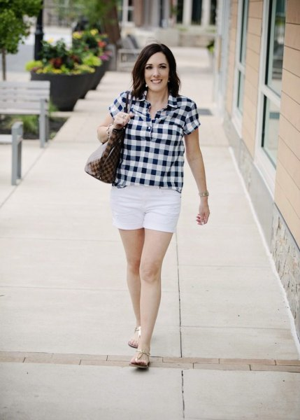 black and white checked shirt with casual mini shorts