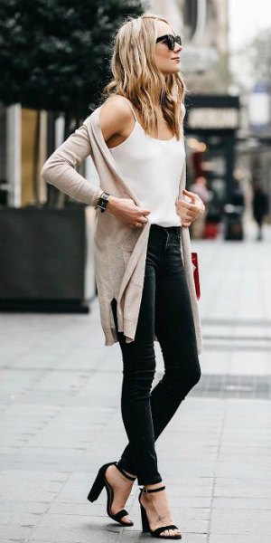 white chiffon vest top with spaghetti straps and light pink longline casual jacket