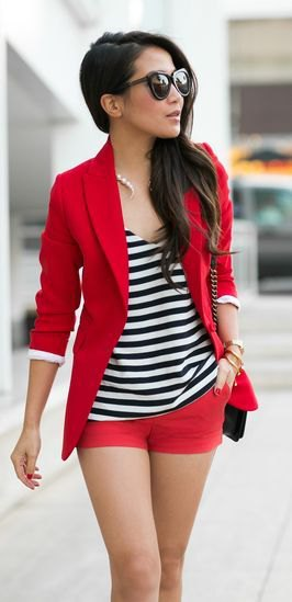 red blazer with matching shorts and striped tank top with a scoop neck