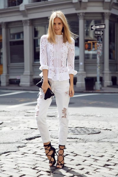 white, embroidered flower blouse with torn jeans and strappy heels