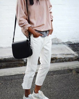 blush pink chunky sweater with white boyfriend jeans