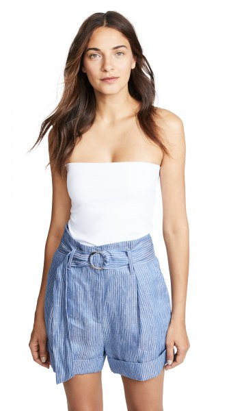 white, form-fitting tube top with blue striped mini shorts