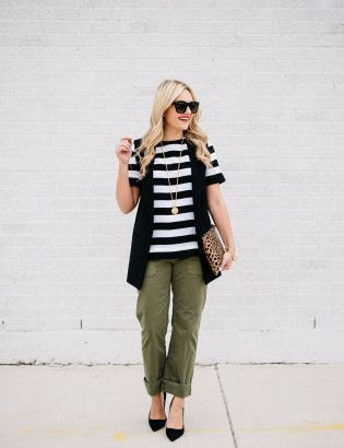 black and white striped t-shirt with vest and cuff pants with cuff