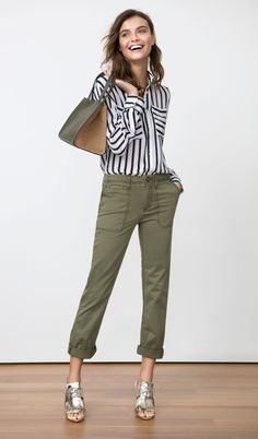 black and white striped shirt with buttons and green boyfriend jeans with cuff