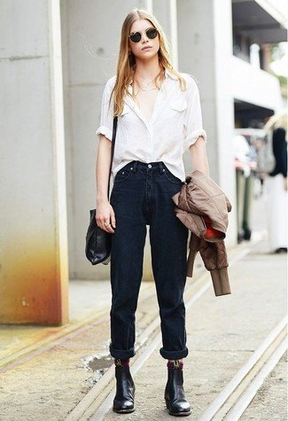 white shirt with buttons, black jeans with cuff and leather ankle boots
