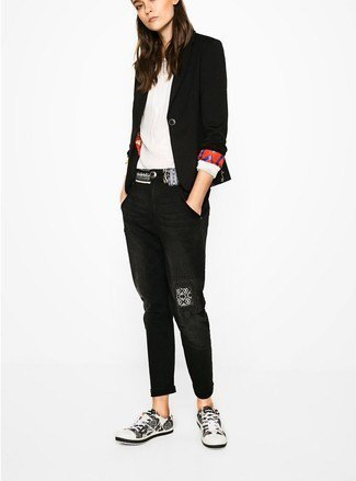 black blazer with white pleated blouse and cuff jeans