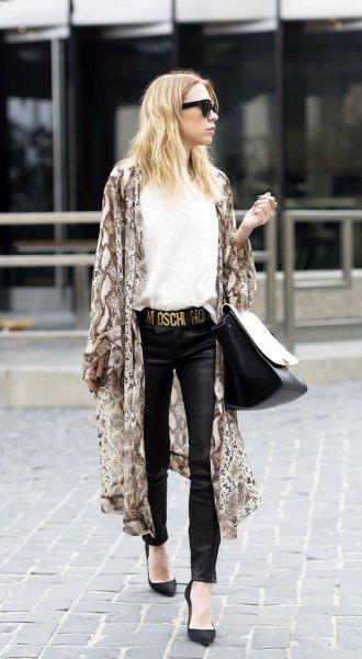 pink maxi kimono cardigan with white, elegant blouse