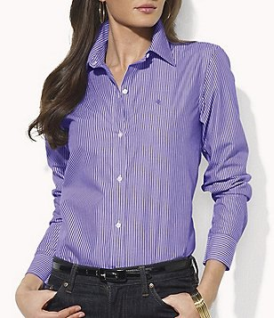 blue and white striped shirt with buttons and black slim fit jeans
