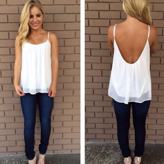 backless, elegant tank top made of white chiffon with blue jeans