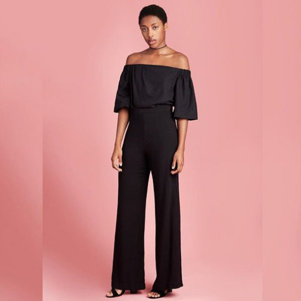 black off shoulder blouse with wide leg trousers