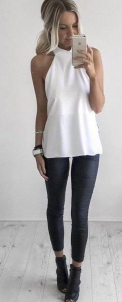 white halter tunic top with black short leggings
