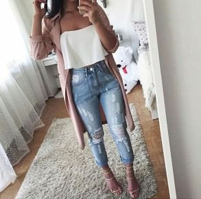 white strapless top with gray longline blazer and torn jeans