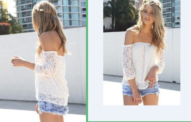 white long-sleeved shirt made of strapless lace with light blue mini denim shorts