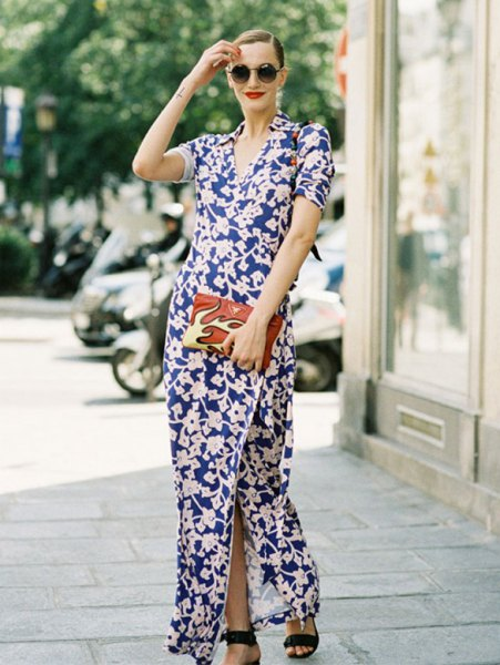dark blue and white maxi dress with side slit and open toe heels
