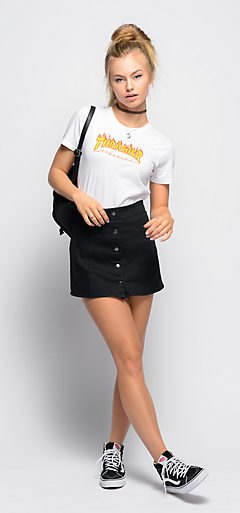 white slim fit t-shirt with black mini skirt on the front