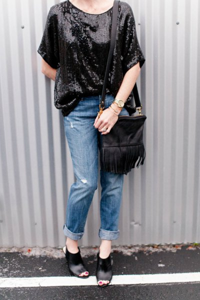 oversized black sequin top with leather pocket