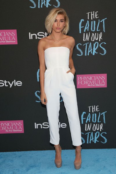 white strapless top with matching shortened suit pants