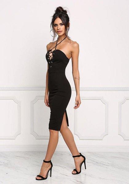 black, criss-cut, figure-hugging mini dress with neckline