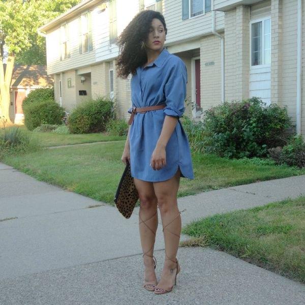 light blue denim dress with belt and open toe heels