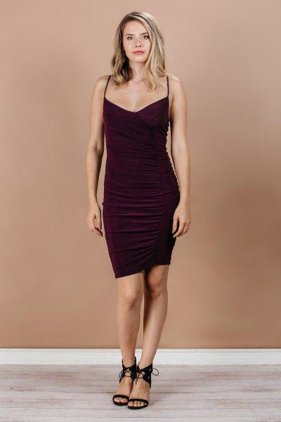 black knee-length bodycon dress with open toe heels
