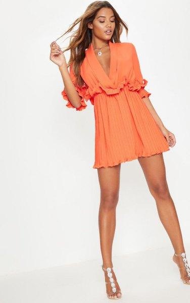 orange deep v-neck pleated mini skater dress