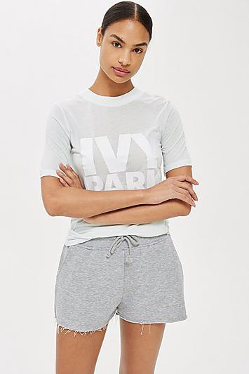 gray and white graphic t-shirt with mini shorts