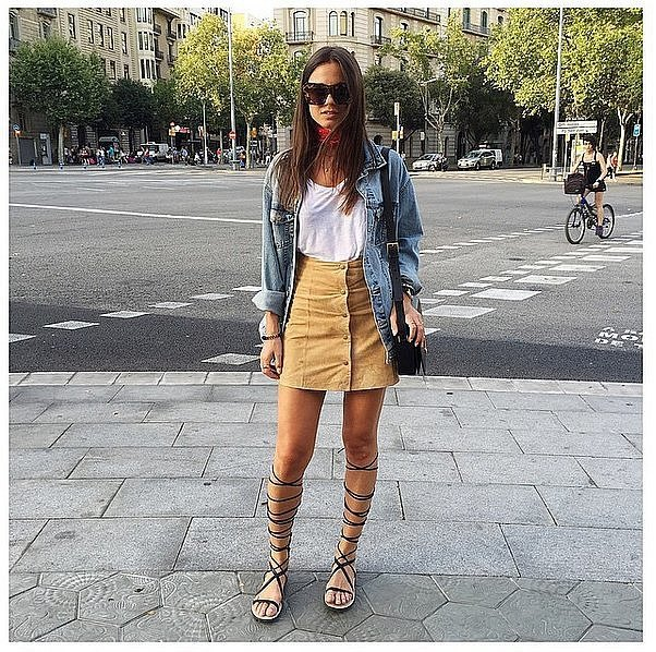 blue jeans boyfriend jacket with green skirt and gladiator sandals