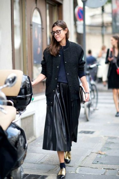 black wool bomber jacket with faux leather midi pleated skirt