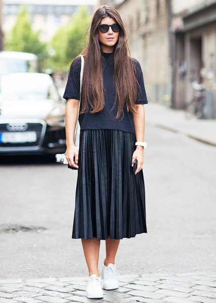 black mock neck short sleeve sweater with pleated midi skirt