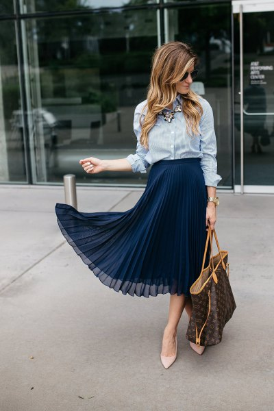 blue and white striped shirt with dark blue chiffon midi skirt