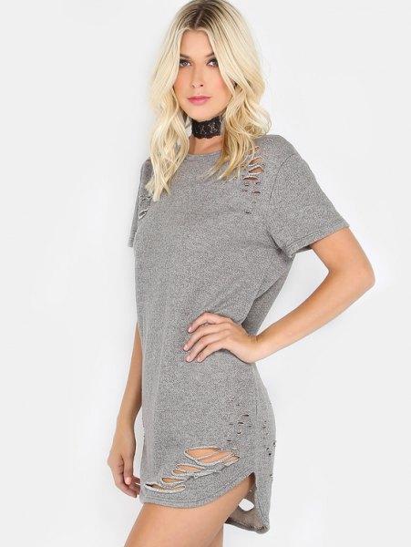 gray torn mini t-shirt dress with black collar