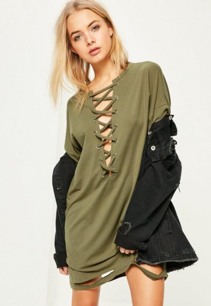 green, lace-up t-shirt dress with black denim jacket