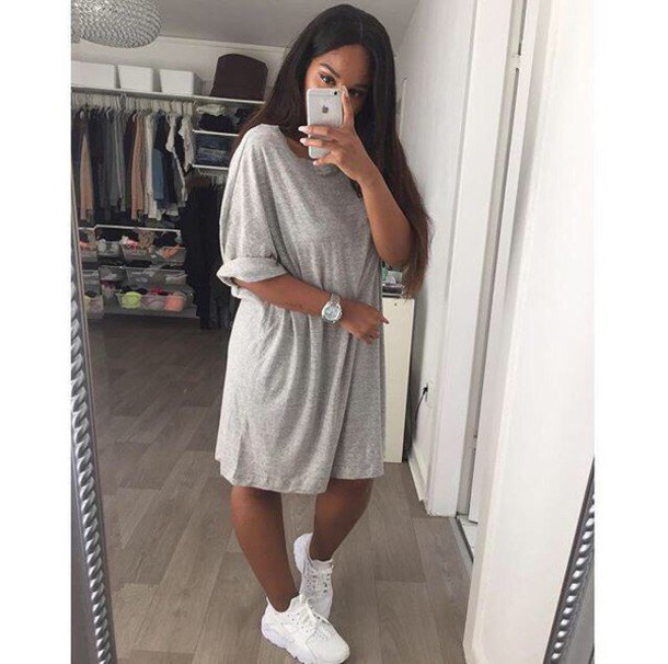 light gray oversized t-shirt dress with white sneakers