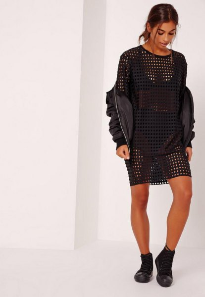 black, semi-transparent, oversized leather t-shirt dress with leather bomber jacket