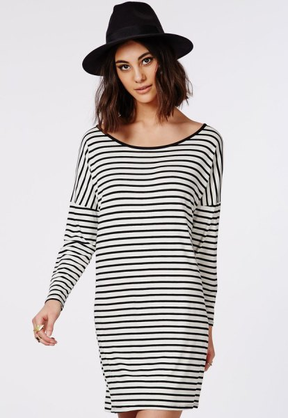 black and white striped oversized long-sleeved t-shirt with a scoop neck