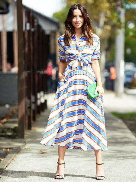 blue and white striped two-piece, decreasing midi dress