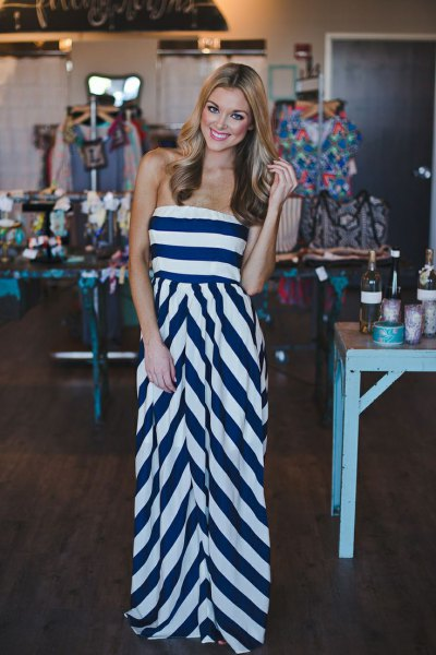 Dark blue and white striped strapless fit and floor-length slimming dress
