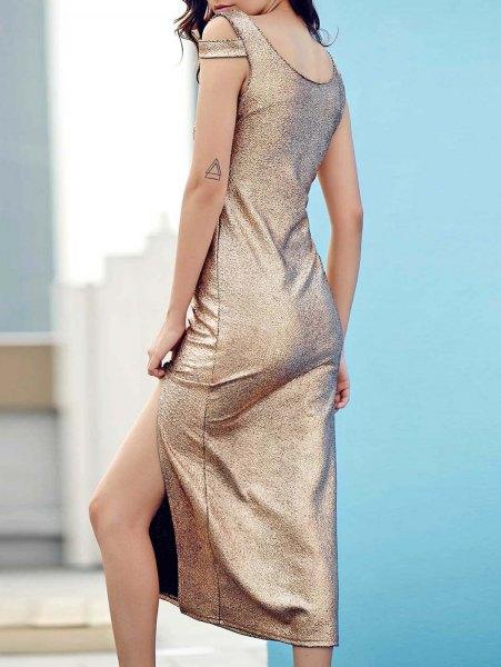 Silver sequin tank midi side slit dress