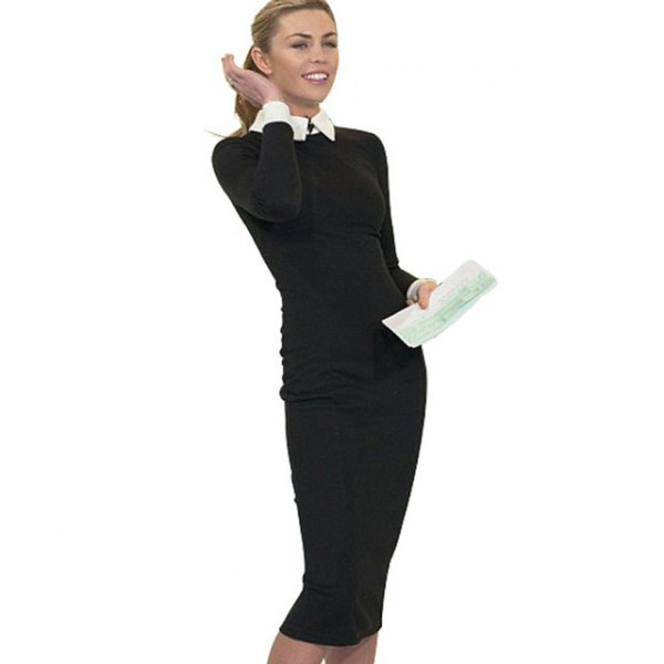 white shirt with buttons and black, form-fitting midi dress