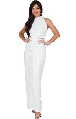 white mock neck slimming ruched waist maxi dress