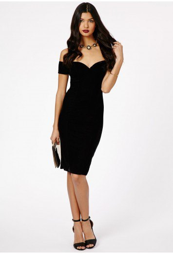 black body-hugging bardot midi dress with open toe ankle strap heels