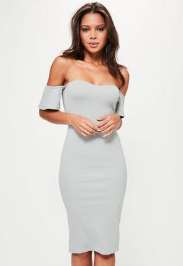 Light pink Bardot bodycon midi dress with heels