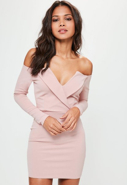 pale pink long-sleeved deep bardot mini dress with v-neck